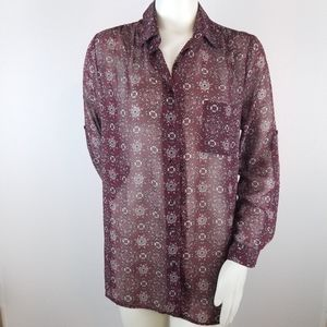Band of Gypsies Blouse Button Sleeve M Sheer Tunic